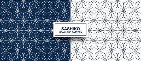 Geometric star shape sashiko seamless pattern