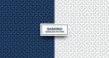 Indigo and white sashiko seamless pattern
