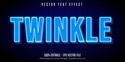 Twinkle neon blue text effect vector
