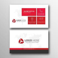 Business card with red squares and bottom border