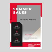 Red summer sales flyer with large image space vector