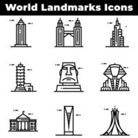 World Landmark Icons Including Empire State Building