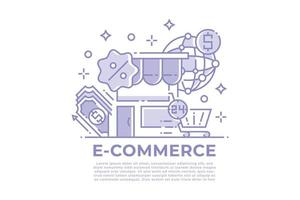 E-commerce and Shopping Linear Design vector