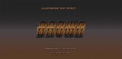 efecto de texto marrón metálico vector