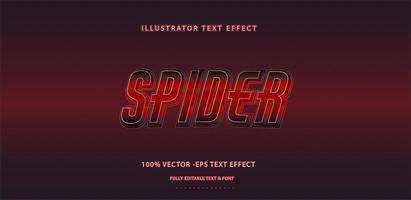 efecto de texto metálico rojo oscuro vector