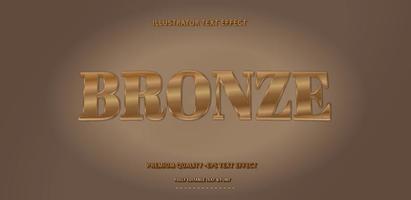 efecto de texto de bronce metalizado vector