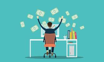 homem de negócios, ganhando dinheiro online vetor