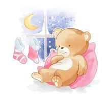 Bear sleeping by the window in winter vector