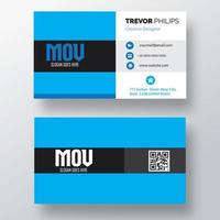 Blue and White Business Card with Black Band vector