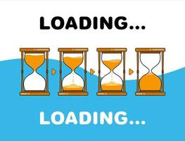 Sand Hourglass Loading and Countdown Set vector