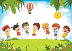 Kids Playing Outside in Summer  vector