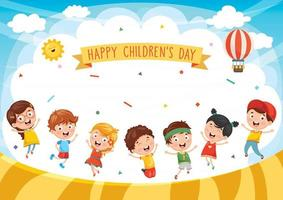 diseño feliz del día del niño con niños jugando vector