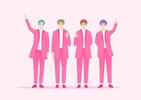 cantores de celebridades coreanas em ternos rosa
