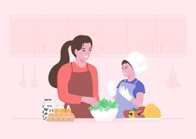 feliz madre e hijo preparando ensalada fresca vector