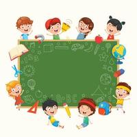 Happy  Kids Around Chalkboard vector