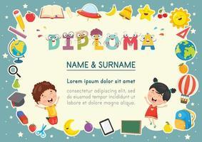 diploma de niños en edad preescolar vector