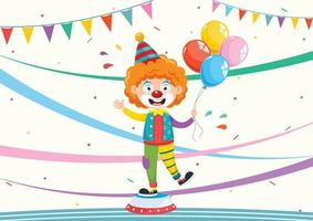 Cartoon Clown with Balloons and Banners
