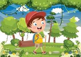 Cartoon Kid Hiking  vector