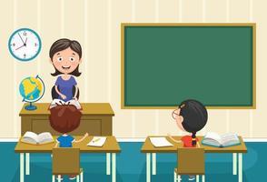 A Teacher Teaching in Classroom  vector