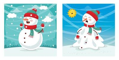 Happy and Sad Snowman Set vector