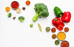 Spices and vegetables for cooking and health.