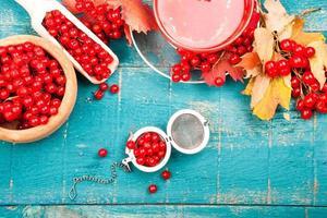 Tea health with viburnum. Useful food background photo