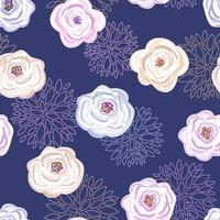 Painted and outlined floral seamless pattern on purple