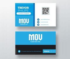 Blue, White and Black Split Business Card Design vector
