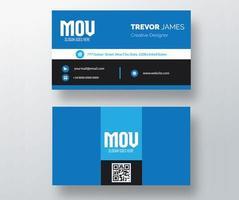 tarjeta de visita con banda azul, blanco y negro vector