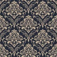 Damask beige and gray seamless pattern