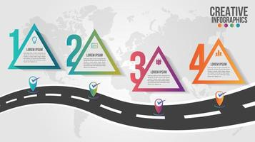 Infografía del mapa mundial con 4 pasos triangulares coloridos vector
