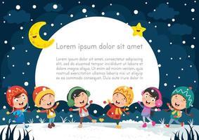 escena de invierno nocturno con niños felices vector