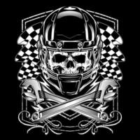Skull Racer with Crossed Wrenches and Flags vector