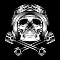 dibujo de cráneo y pistones con casco blanco y negro
