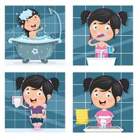 Girl Bathing and Morning Routine Set  vector