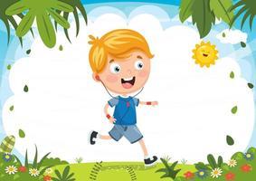 chico corriendo en la naturaleza vector