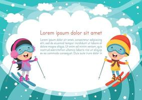Kids Skiing Background vector