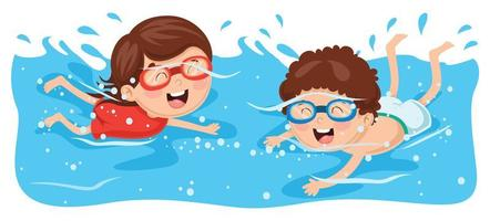 Kids swimming wearing goggles vector