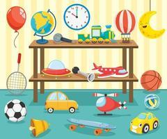 brinquedos infantis exibidos na prateleira vetor
