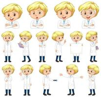 Boy in lab coat set vector