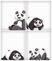 Set of cartoon panda on white background