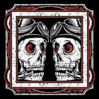 crânes de style grunge avec des yeux fous dans le cadre