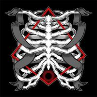 Rib cage and banners intertwined in diamond emblem