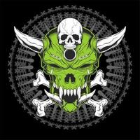 Green skull head with horns and crossed bones vector
