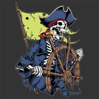 Skeleton pirate captain at wheel vector