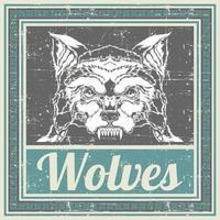 cabeça de lobo estilo grunge em moldura azul vetor