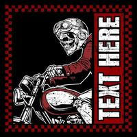 Side view of grunge style skeleton biker with copyspace vector