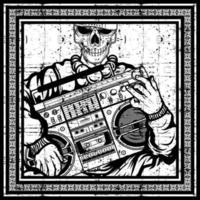 Grunge skeleton in vintage frame holding boombox vector