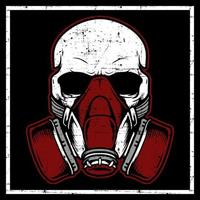 Grunge style skull head wearing gas mask vector