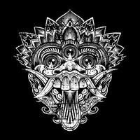 Grunge style mask of Balinese mythological god